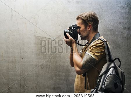 Caucasian photographer man
