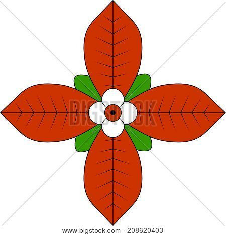 Digital colourful illustration of Indonesian traditional flower. Png with transparent background.