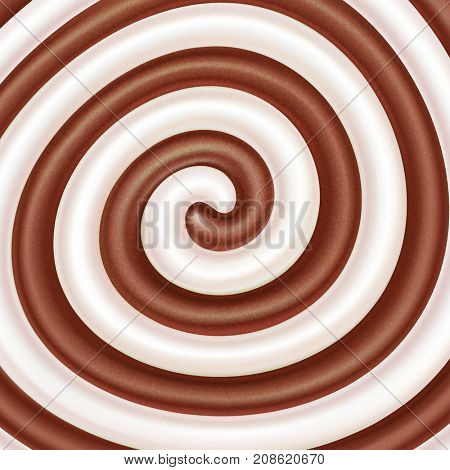 Milk and chocolate swirls. Sweet spiral background. Cream, yogurt, milkshake, white and dark chocolate, candy. The raster illustration for advertising or packaging of dairy products.