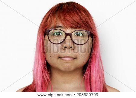 Woman Photoshooting shirtless in studio white background