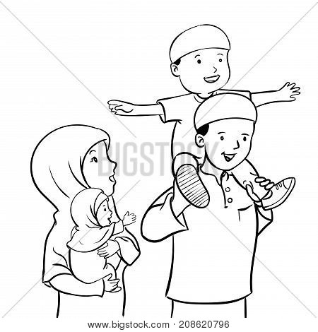 Happy parents mom and dad standing together with kids girl and boy. son sitting on father shoulder. Loving family. Flat style modern vector illustration.