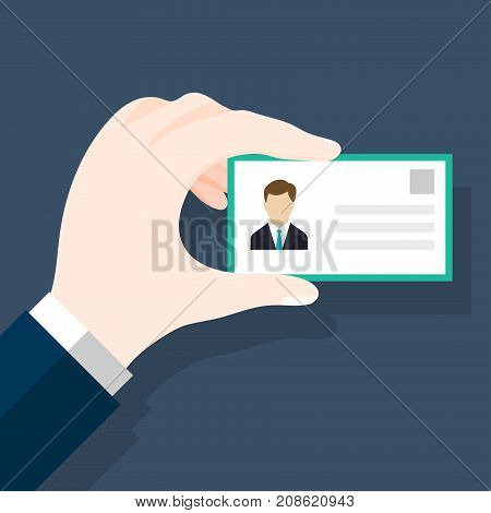 Businessmen holding ID or identification card in flat style. Man's hand holding or showing ID badge or driving license. Presenting business cards. Vector Illustration