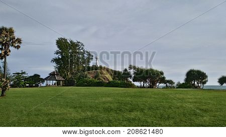 Windy Lawn View with Tower on the Hill
