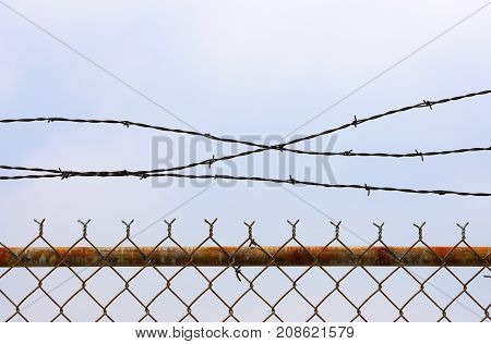 close up on rustic chain link fence
