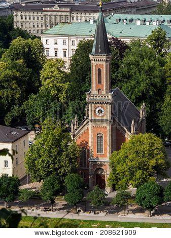 Protestant parish Salzburg Christ Church on Salzbach river Salzburg Austria.