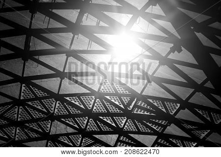 Photo of a beautiful fragment of the roof of a concert hall in the park