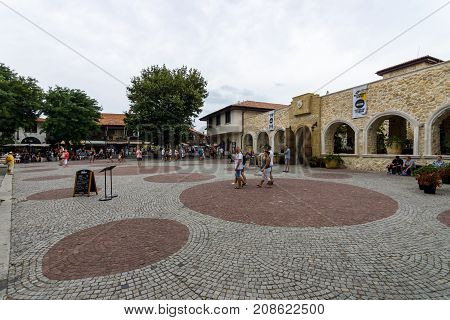 NESEBAR BULGARIA - AUGUST 21 2017: Mesambriya square in the old town. Nesebar is an ancient city and one of the major seaside resorts on the Bulgarian Black Sea Coast.