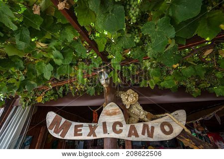 NESEBAR BULGARIA - AUGUST 21 2017: Sign of a Mexican restaurant in a rustic style and branches and fruits of wild grapes. Nesebar is an ancient city and one of the major seaside resorts on the Bulgarian Black Sea Coast.