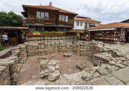 NESEBAR BULGARIA - AUGUST 21 2017: Ancient ruins in the UNESCO World Heritage town of Nesebar. Nesebar is an ancient city and one of the major seaside resorts on the Bulgarian Black Sea Coast.