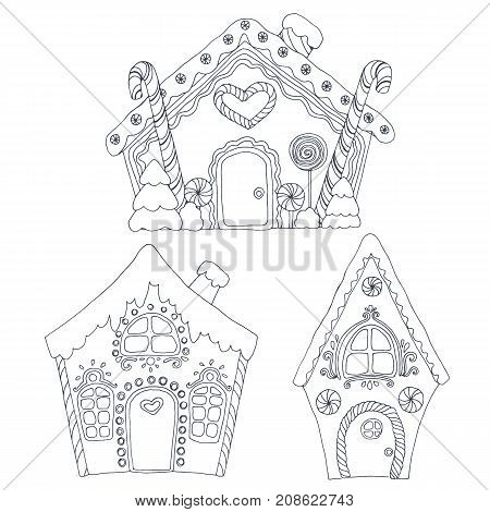 Christmas coloring vector pages with gingerbread houses