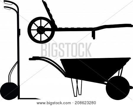 Wheelbarrow silhouette set for design and propagation