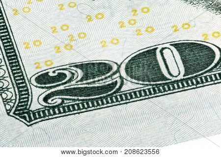 Detail of the corner of a 20 dollar bill. High resolution photo.