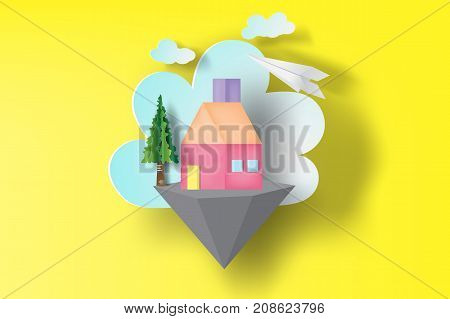 Paper art of home sweet on floating island svector