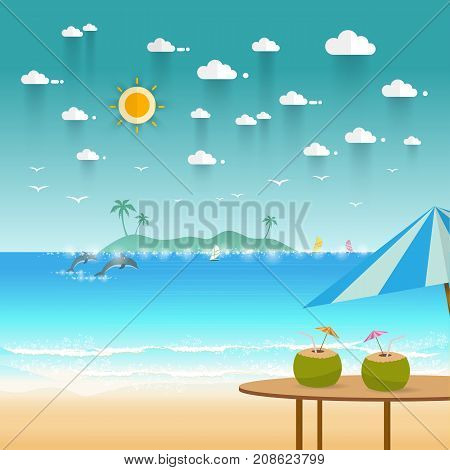 Idyllic paradise coast landscape with mountains. Summer camp vacation concept in flat style design Vector illustration