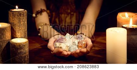 Fortune Teller Holding Healing Stones, Concept Esoteric And Life Coaching