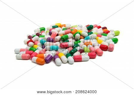 medicine pills on a isolated white background