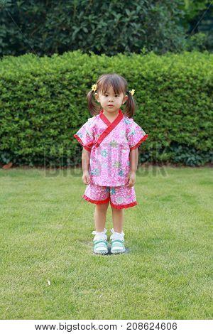 Japanese Girl Wearing Yukata, Japanese Traditiona Cloth (2 Years Old)