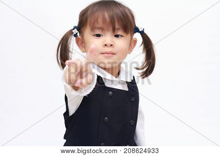 Japanese Girl Playing Rock-paper-scissor In Formal Wear (2 Years Old) (scissor)