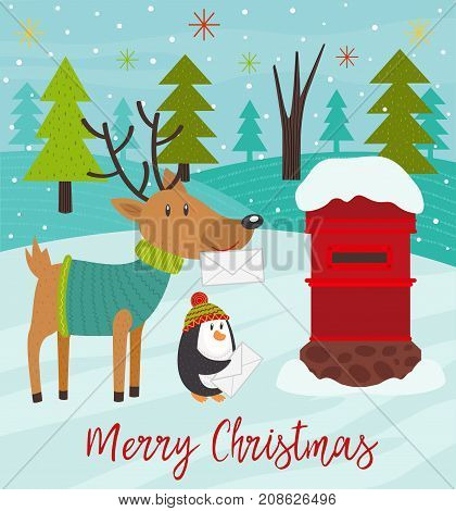 Polar animals send letters to Santa Claus - vector illustration, eps