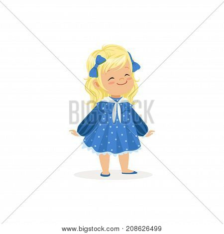 Beautiful blonde little girl posing in blue dress, young lady dressed up in classic retro style vector Illustration isolated on a white background