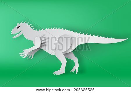 paper art of Indominous Rex dinosour on green background vector isolate mascot