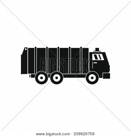 Garbage truck icon. Silhouette illustration of Garbage truck vector icon for web isolated on white background
