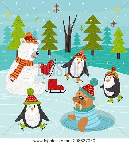 polar animals on rink - vector illustration, eps