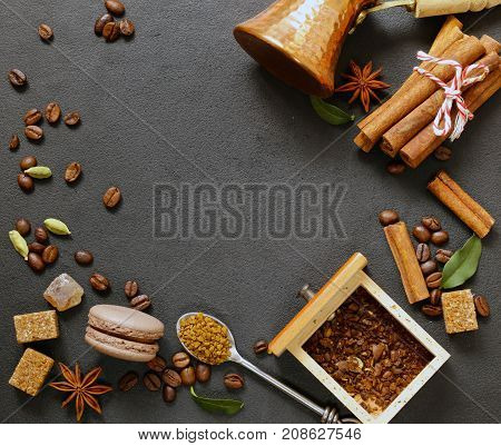 coffee still life background - grains and spices, sugar