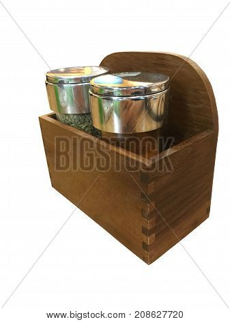 Basic seasoning set of Pizza. Oregano and Pepper in the wooden box and white background Isolated