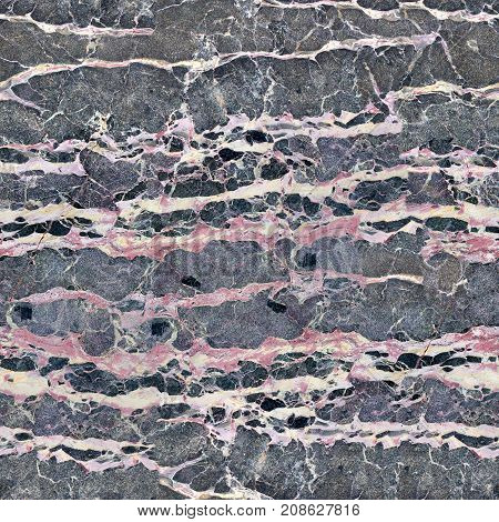 Close up of patterned structure of dark gray marble pattern gold russia for design and texture. Seamless square background, tile ready. High resolution photo.