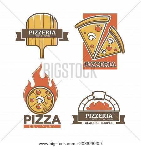 Pizzeria or pizza restaurant logo templates set for delivery or cafe sign and menu. Vector isolated icons of margherita or capricciosa pizza slice, wooden cutting board and furnace flame