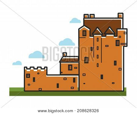 Ancient castle for Scotland travel tourism symbol and famous culture landmark attraction. Vector isolated icon of Medieval royal fortification fortress or stone citadel