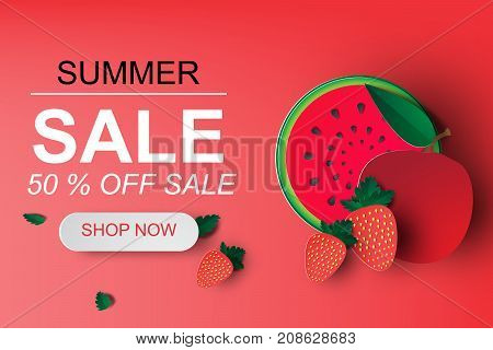 Paper art of Summer Sale Banner With Watermelon strawberry and apple. up to 50% off. Special Offer.Vector Illustration