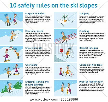 10 safety Rules on the Ski Slopes. Mountain Ski Safety Instructions. Vector Illustration for Information Board in the Ski Resort. Cute Characters Skier and Snowboarder in Different Situations.