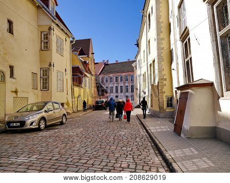 Tourists in the street of Old Tallinn, Estonia, spring 2017