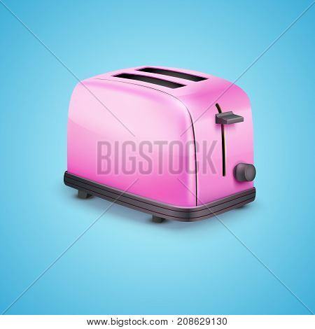 Bright Pink Glossy Toaster. Vector illustration on blue background