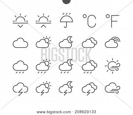 Weather UI Pixel Perfect Well-crafted Vector Thin Line Icons 48x48 Ready for 24x24 Grid for Web Graphics and Apps with Editable Stroke. Simple Minimal Pictogram Part 2-3