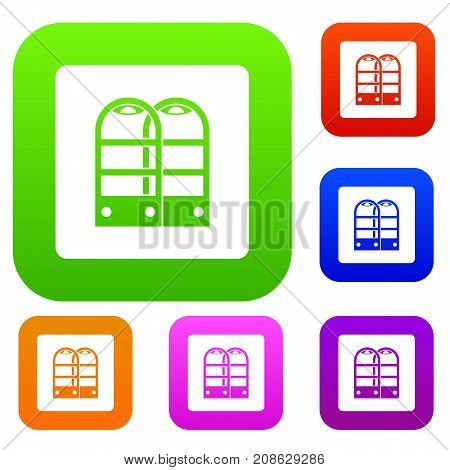 Shop security anti theft sensor gates set icon color in flat style isolated on white. Collection sings vector illustration