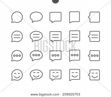 Messages UI Pixel Perfect Well-crafted Vector Thin Line Icons 48x48 Ready for 24x24 Grid for Web Graphics and Apps with Editable Stroke. Simple Minimal Pictogram Part 1-5