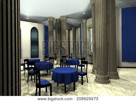 3D rendering of a restaurant interior indoor
