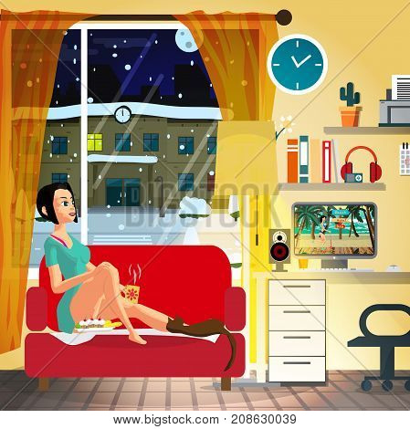 Young woman sitting in the evening on the couch and watching a movie on the computer. Flat cartoon vector illustration