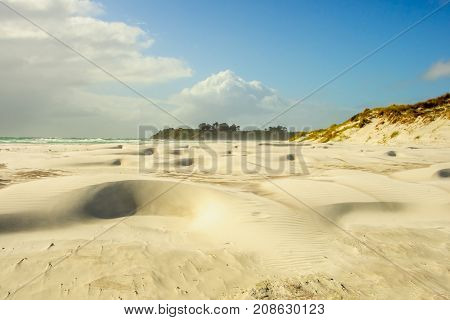 Beach and landscape in the Aupouri Peninsula in Northland New Zealand