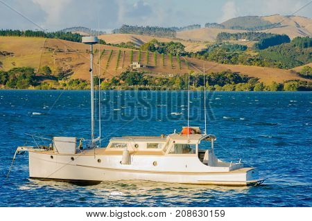 Fishing Boat And Landscape Near Mangonui