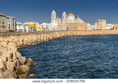 Looking towards Cadiz from the waterfront in the Spanish resort