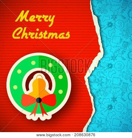 Torn Christmas colorful paper background with jingle bell bow and icons pattern vector illustration
