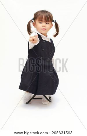 Japanese Girl On The Chair Playing Rock-paper-scissor In Formal Wear (2 Years Old) (scissor)