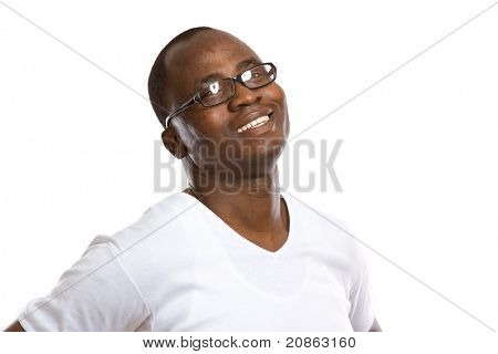 A portrait of a happy African American, isolated on white