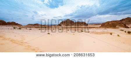 Panorama of Sand and rock desert Sinai, Egypt, Africa