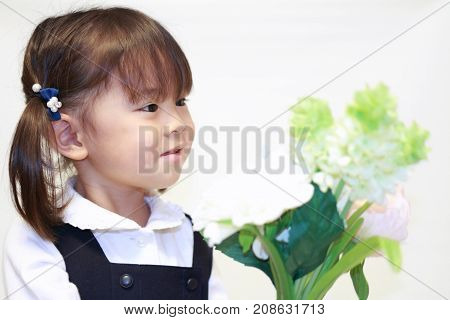 Japanese Girl In Formal Wear With Flowers (2 Years Old)