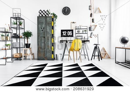Geometric Carpet In Home Office